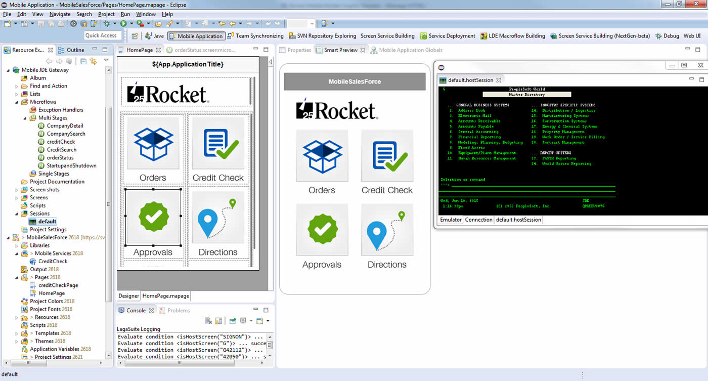 Rocket Mobile for IBM i app builder interface