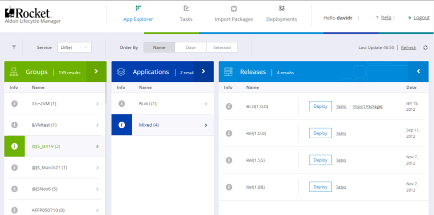 Rocket Aldon Lifecycle Manager Application Explorer
