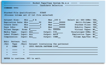 Rocket Tape/Copy primary selection panel