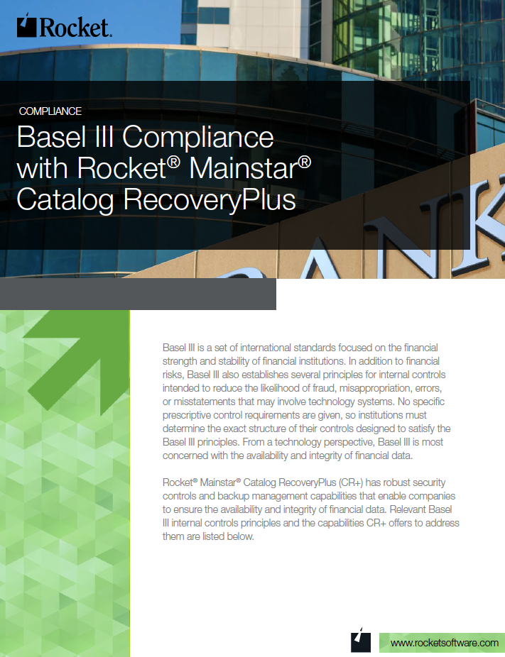 Rocket Mainstar Catalog RecoveryPlus for Basel III Datasheet