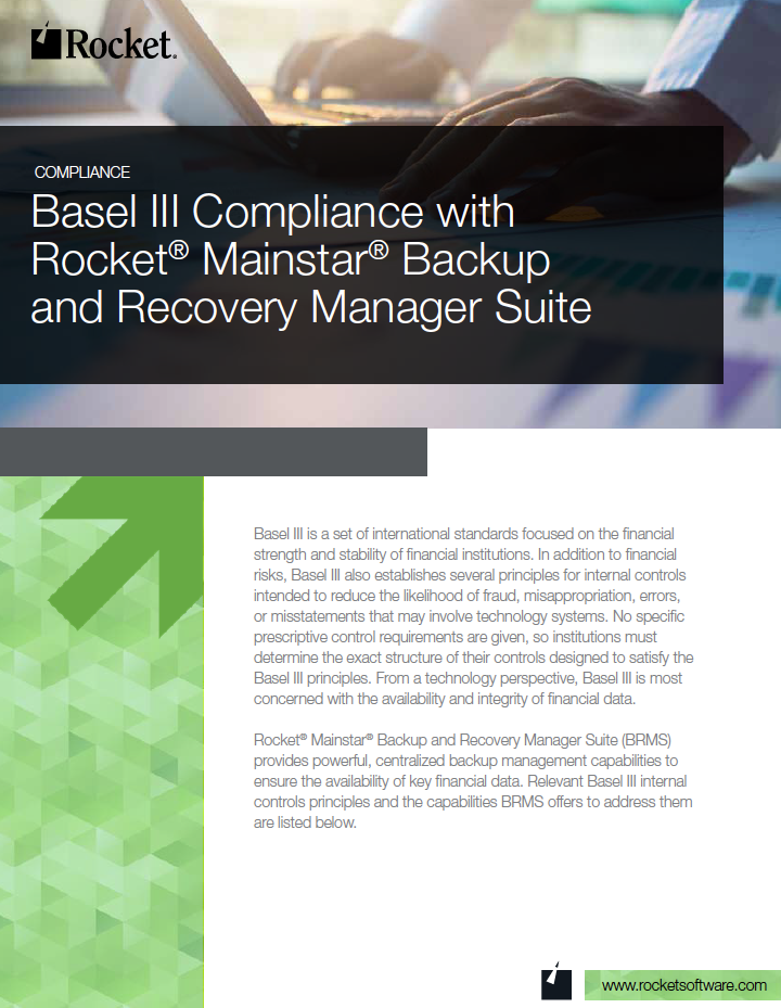 Rocket Mainstar Backup and Recovery Manager Suite for Basel III Datasheet