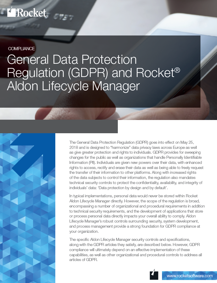 Rocket Aldon for GDPR Datasheet