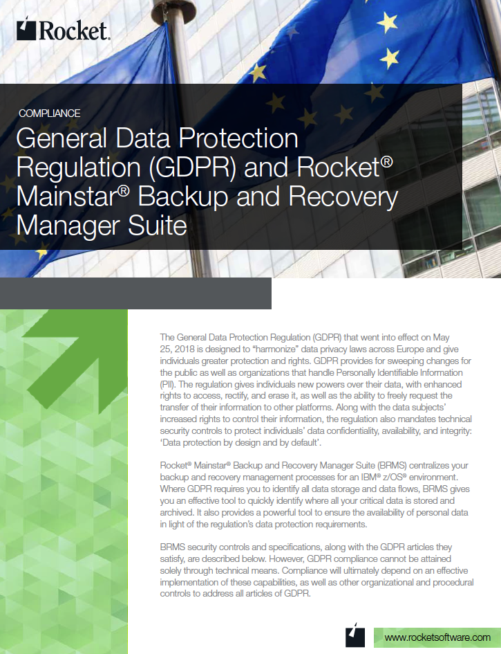Rocket Mainstar Backup and Recovery Manager Suite for GDPR Datasheet