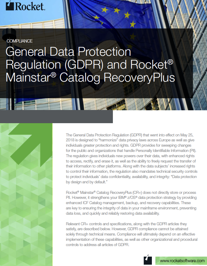 Rocket Mainstar Catalog Recovery Plus for GDPR Datasheet