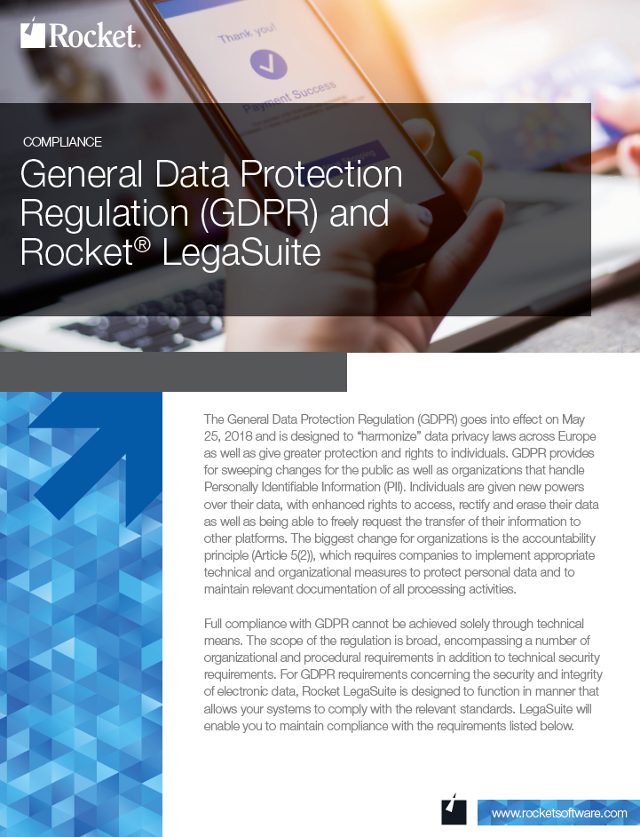 Rocket LegaSuite for GDPR Datasheet