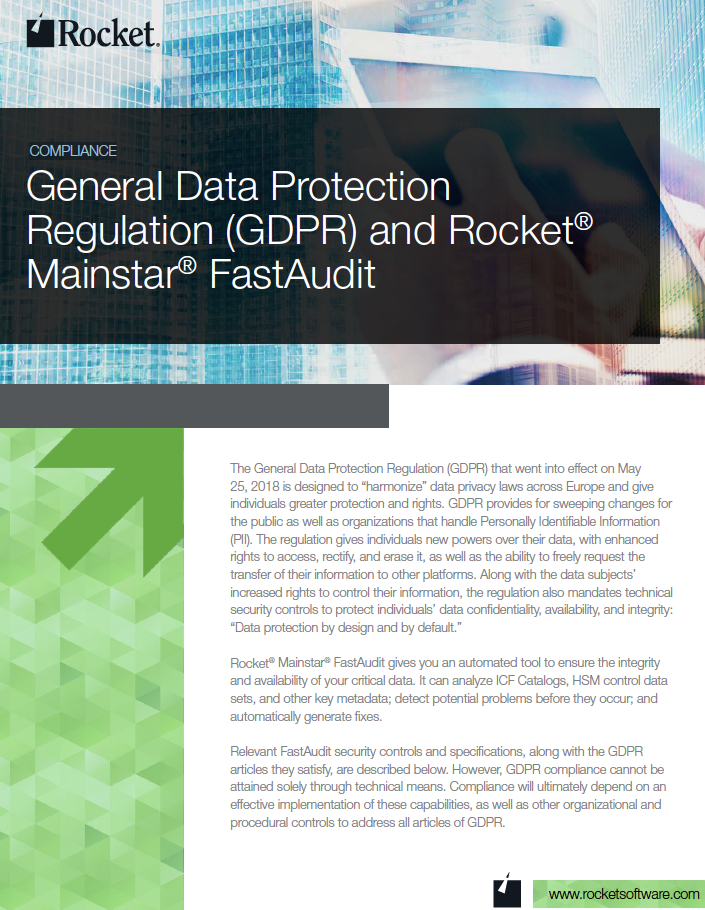 Rocket Mainstar FastAudit for GDPR Datasheet