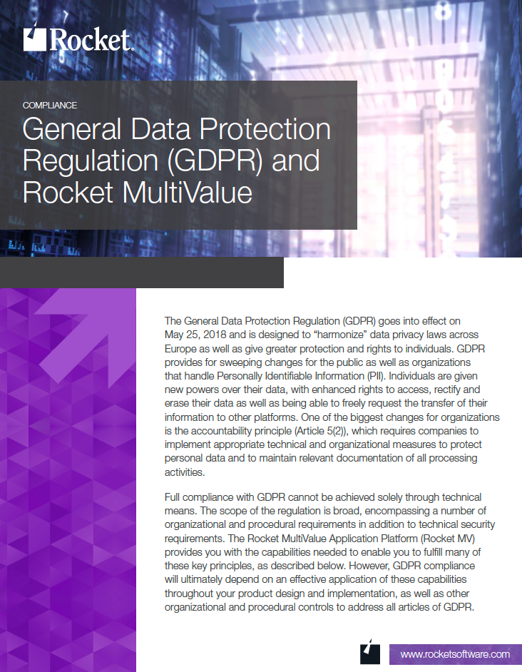 Rocket MultiValue for GDPR Datasheet