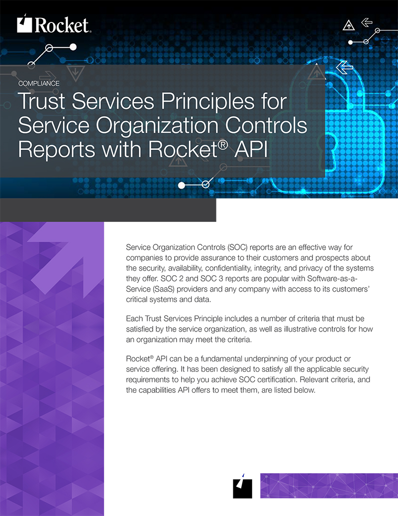 Rocket API for Trust Services Datasheet