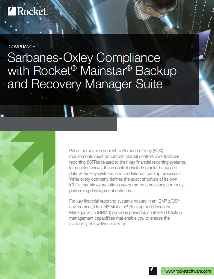 Rocket Mainstar Backup and Recovery Manager Suite for SOX Datasheet
