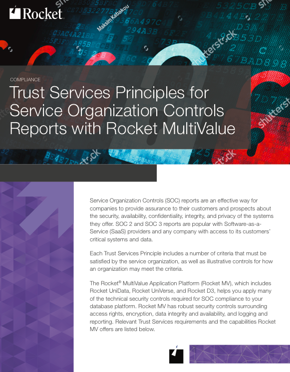 Rocket MultiValue for Trust Service Principles Datasheet