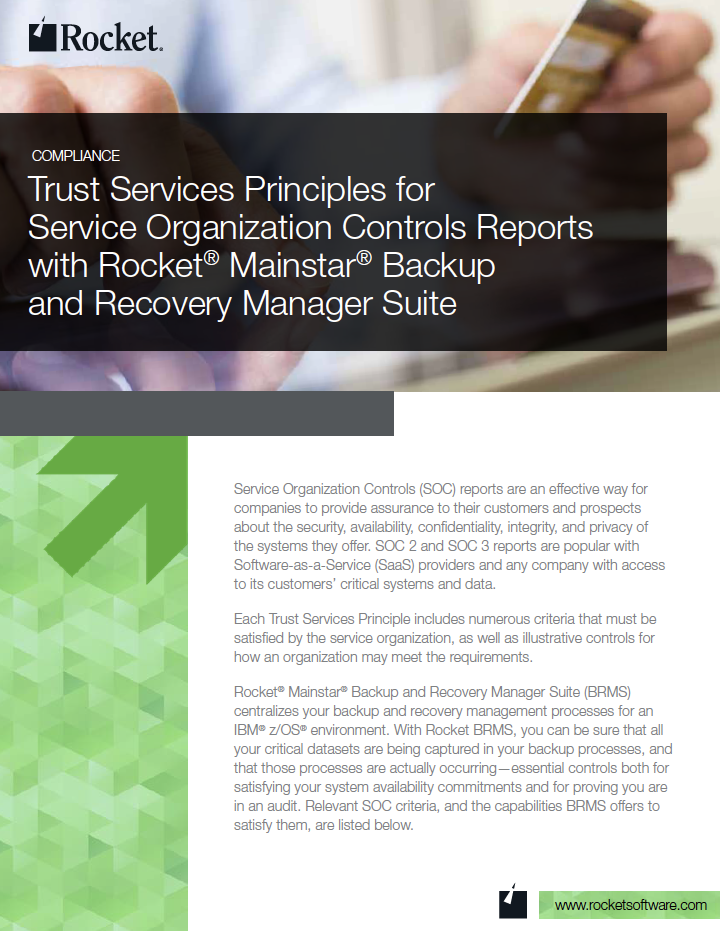 Rocket Mainstar Backup and Recovery Manager Suite for Trust Services Datasheet