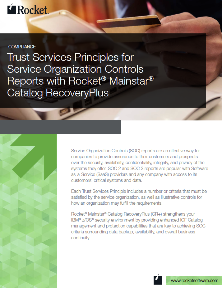 Rocket Mainstar Catalog RecoveryPlus for Trust Services Datasheet