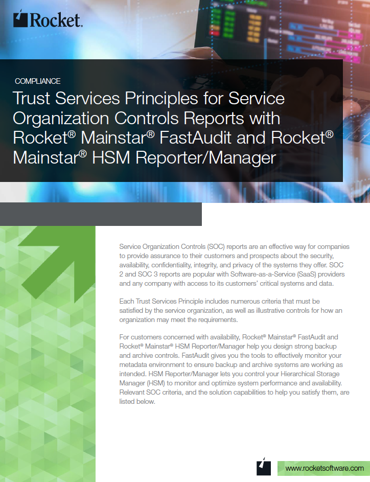Rocket Mainstar FastAudit and Rocket Mainstar HSM Reporter/Manager for Trust Services Datasheet